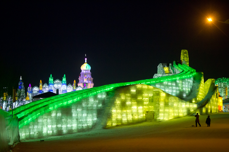 Harbin Ice & Snow Festival - elaborate illuminated ice slide.