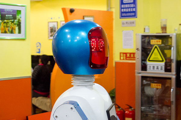 Robot server at the robot restaurant, Harbin.